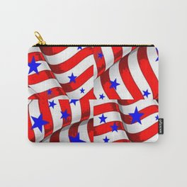 RED PATRIOTIC JULY 4TH BLUE STARS ART Carry-All Pouch