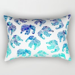 Boho turquoise blue ombre watercolor hand drawn mandala elephants pattern Rectangular Pillow
