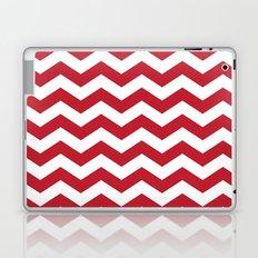 Red and White Bold Chevron Stripes Laptop & iPad Skin