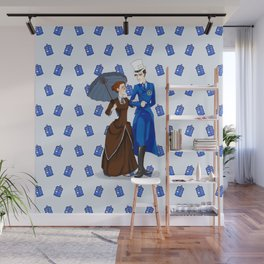 Doctor Couple With Tardis Pattern Wall Mural
