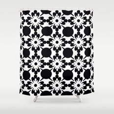 Toile Shower Curtains Society - Black and white flower shower curtain