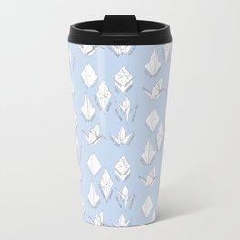 Blue paper crane origami pattern Travel Mug