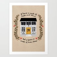home sweet home Art Prints featuring Home by Phillippa Lola