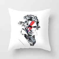 beethoven Throw Pillows featuring Bowie Beethoven by Komrod