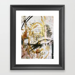 Armor [9]:a bright, interesting abstract piece in gold, pink, black and white Framed Art Print