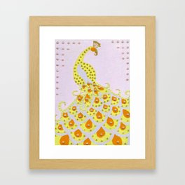 Peacock in Yellow Framed Art Print
