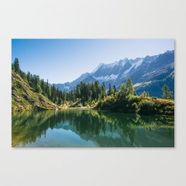 Panoramic view of Schwarzsee mountain lake in Lotschental valley, Wallis, Switzerland Canvas Print