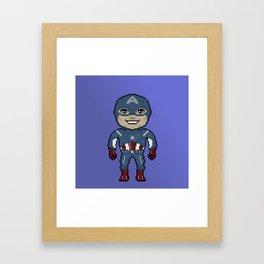 Pixelated Heroes Capt. America Super Hero Framed Art Print