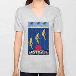 1930 Australia Great Barrier Reef Travel Poster Unisex V-Neck