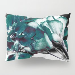 Dark Teal Flowers Pillow Sham