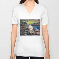 northern lights V-neck T-shirts featuring Northern Lights by Michael Creese