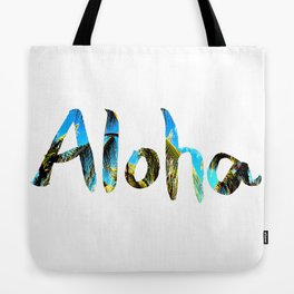 Palm Tree and Blue Sky Aloha Tote Bag