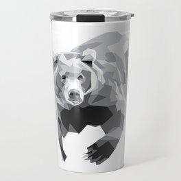 Geometric Bear on White Travel Mug