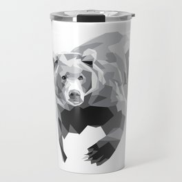 Geometric Bear on White Travel Mug