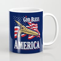 patriots Mugs featuring American Pterodactyl (God Bless America) by Tabner's