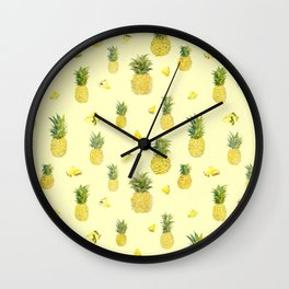 Pineapple Watercolors Wall Clock