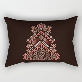 Knitted beautiful coral Christmas tree Rectangular Pillow