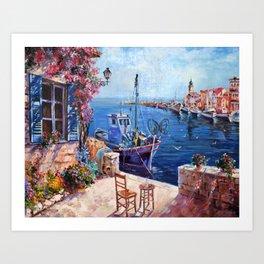 Morning at the Wharf Art Print