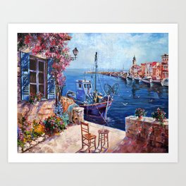 Morning at the Wharf Art Print