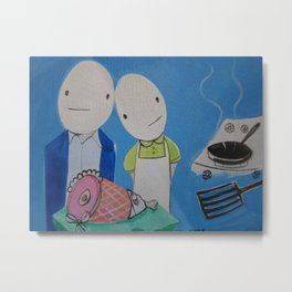 Mr&Mrs Egghead Had a Baby They Named Her Ham Metal Print