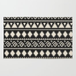 Vintage white black geometrical aztec tribal Rug