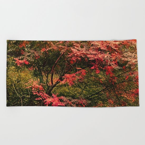 Autumn in the Garden 2 Beach Towel