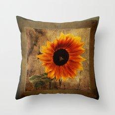 Vintage Sunflower Framed Throw Pillow