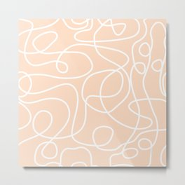 Doodle Line Art | White Lines on Peach/Apricot Metal Print