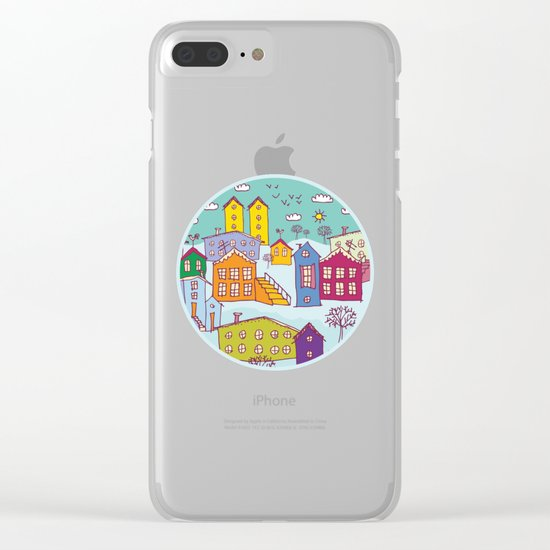 Cityscape Sketch Clear iPhone Case