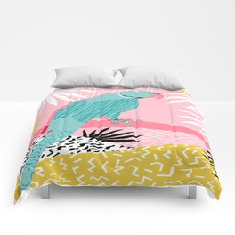 Doin' It - blue india ringneck parrot bird art wacka design animal nature retro throwback neon 1980s Comforters