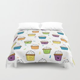 Cute Happy Fun Cupcakes with white background Duvet Cover