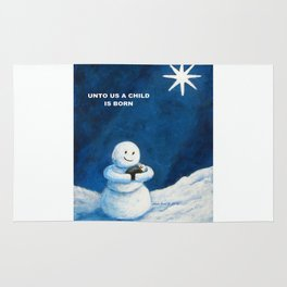 Until Us A Child Is Born  Snowmen Painting By Annie Zeno Rug