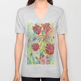 Ixora and Ferns - Watercolor Unisex V-Neck