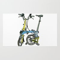 brompton Area & Throw Rugs featuring My brompton standing up by Swasky