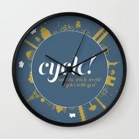 cycle Wall Clocks featuring Cycle! by Geminianum
