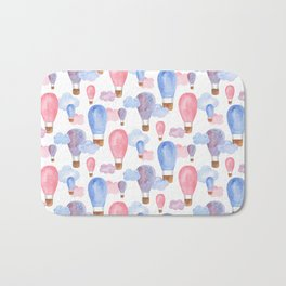 Watercolor air balloon. Pink and blue baby pattern. Nursery illustration. Kids art Bath Mat