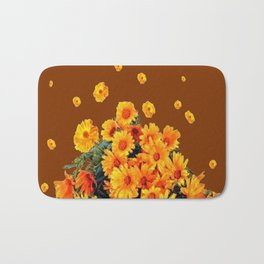 COFFEE BROWN SHOWER GOLDEN FLOWERS Bath Mat