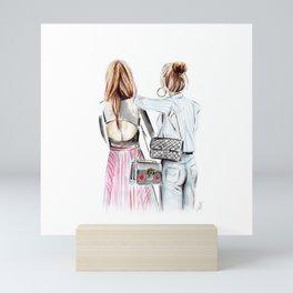 Street style girls Mini Art Print