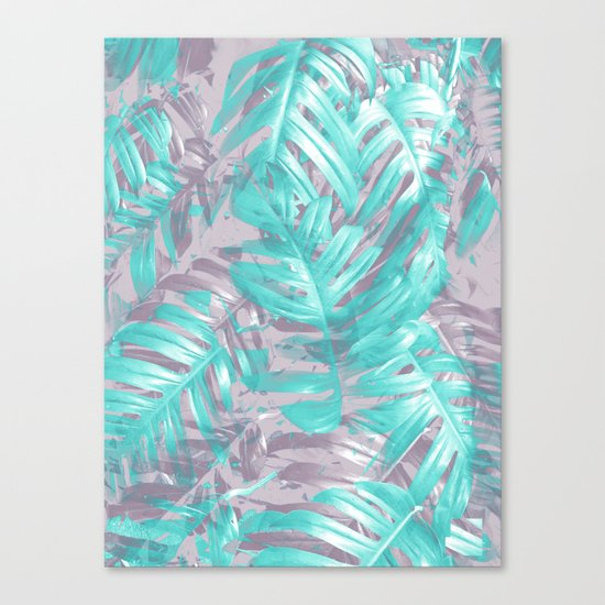 Teal and Silver foliage Canvas Print