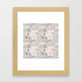 Moroccan Tile Pattern with Rose Gold Framed Art Print