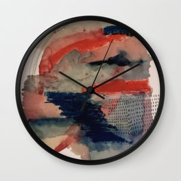 Independent: a red and blue abstract watercolor Wall Clock