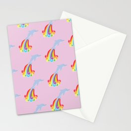 Rainbow Dolphins Stationery Cards