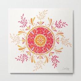 Leaf Mandala – Peachy Pink Palette Metal Print