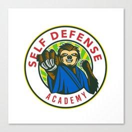Sloth Karate Self Defense Badge Canvas Print