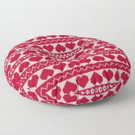 Fair Isle Valentines Day - Red Floor Pillow