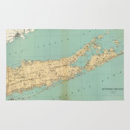 Vintage Map of Suffolk County NY (1895) Rug