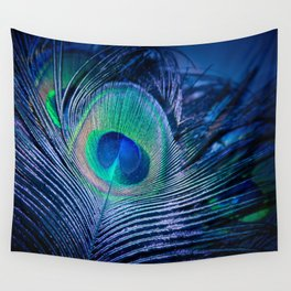 Peacock Feather Blush Wall Tapestry