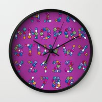font Wall Clocks featuring Pills Font by Mnk Crew