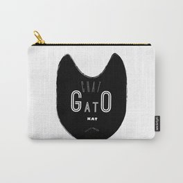 Mod Typographic Cat Wall Art Print Bold Black & White Mid Century Modern Inspiration Carry-All Pouch
