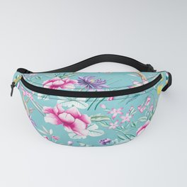 Pastel Teal Vintage Roses and Butterflies Pattern Fanny Pack